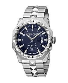 by Franck Muller Men's Swiss Quartz Silver-Tone Stainless Steel Bracelet Watch 43mm