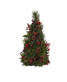 Mixed Berry and Pine Cone Artificial Christmas Tree with 35 Clear LED Lights