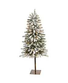 Flocked Alpine Christmas Artificial Tree with 100 Lights and 260 Bendable Branches
