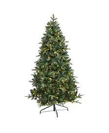 Grand Teton Spruce Flat Back Artificial Christmas Tree with 180 Clear LED Lights and 727 Bendable Branches