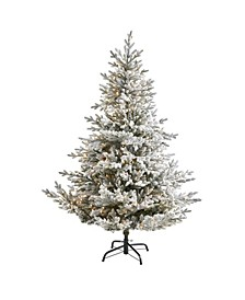 Flocked Fraser Fir Artificial Christmas Tree with 500 Warm Lights and 236 Bendable Branches