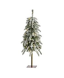 3.Flocked Washington Alpine Christmas Tree with 50 Warm LED Lights and 168 Bendable Branches