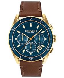 Men's Preston Chronograph Saddle Leather Strap Watch 44mm
