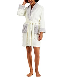 Short Robe With Faux-Fur Trim, Created for Macy's