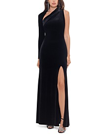 One-Shoulder Velvet Gown
