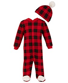 Chick Pea Baby Boy Quilted 2pc Red and Black Buffalo Plaid Footed Coverall Set