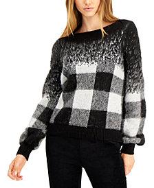 Bar III Buffalo Check Pullover Sweater, Created for Macy's