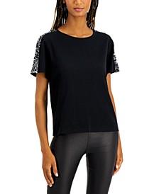 INC Sequin-Sleeve T-Shirt, Created for Macy's