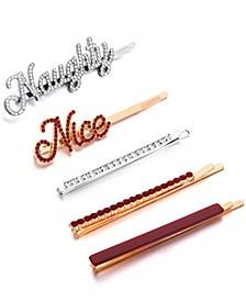 INC 5-Pc. Two-Tone Crystal Naughty/Nice Bobby Pin Set, Created for Macy's