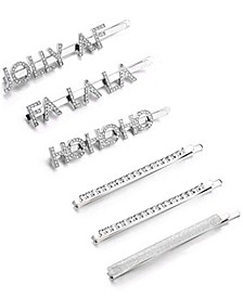 INC 6-Pc. Silver-Tone Crystal Jolly AF Bobby Pin Set, Created for Macy's