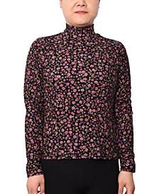 Trendy Plus Size Printed Mock-Neck Top