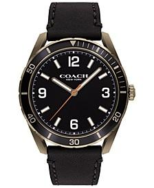 Men's Preston Black Leather Strap Watch 44mm