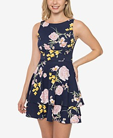 Juniors' Tiered Open-Back Fit & Flare Dress