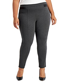 Plus Size Faux-Leather Ponté Knit Pants, Created for Macy's