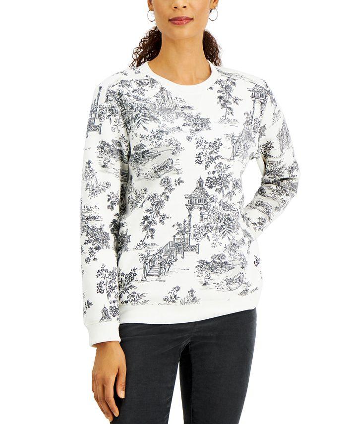 Karen Scott - Paradise Oasis Printed Flocked Sweatshirt