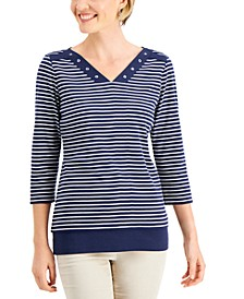 Cotton Striped Grommet Top, Created for Macy's