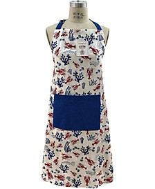 Lobsters and Coral Print Tie-Back Big Front Pocket Apron