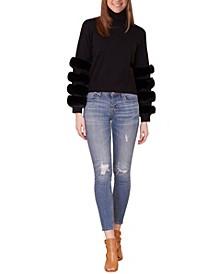 Women's Faux Fur Wrist Turtleneck Sweater (57% Off) -- Comparable Value $58
