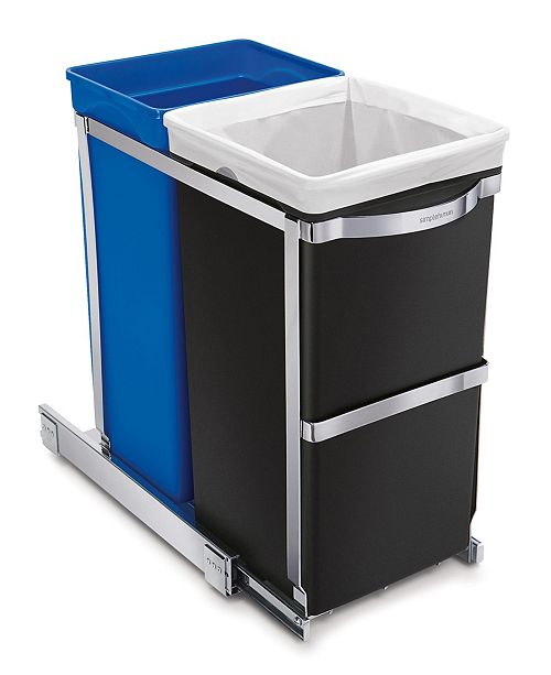 simplehuman Under-the-Counter 35 Liter Pull Out Dual Recycler Trash Can