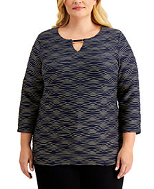 JM Collection Plus Size Jacquard Keyhole Top, Created for Macy's