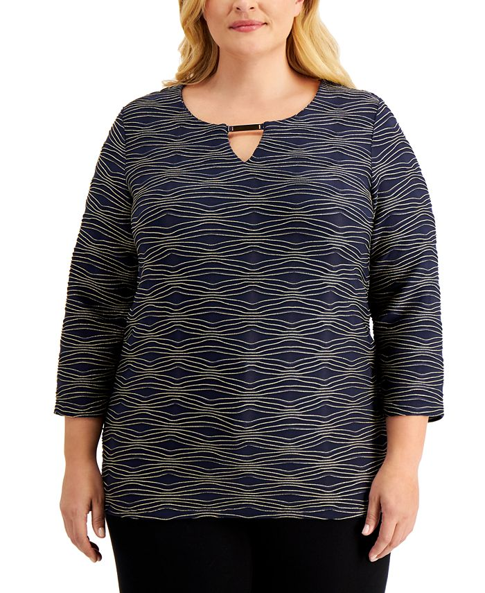 JM Collection - Plus Size Jacquard Keyhole Top