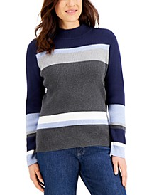 Cotton Colorblocked Striped Sweater, Created for Macy's