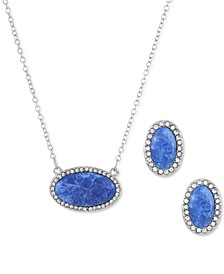 Pavé & Marbelized Stone Pendant Necklace & Stud Earrings Set, Created for Macy's