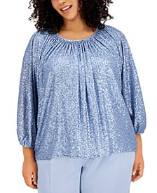 Plus Size Ruched Sequin Top, Created for Macy's
