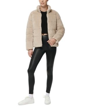 Marc New York Faux-fur Teddy Puffer Coat In Stone