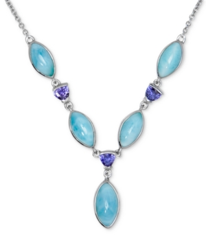 """Larimar & Blue Cubic Zirconia 18"""" Statement Necklace in Sterling Silver"""