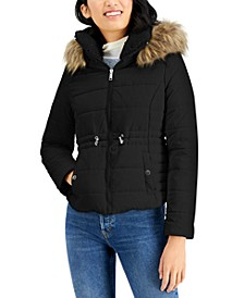 Juniors' Faux-Fur-Trim Hooded Anorak Puffer Coat