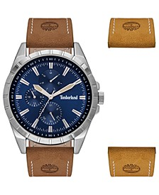 Men's Brown Leather Strap Watch 48mm Gift Set