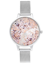 Women's Abstract Stainless Steel Mesh Bracelet Watch 34mm