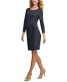 Twisted Metallic-Stripe Dress