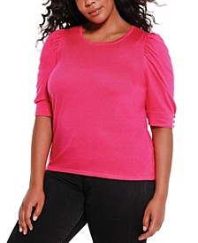 Black Label Women's Plus Size Puff Sleeve Pullover Sweater