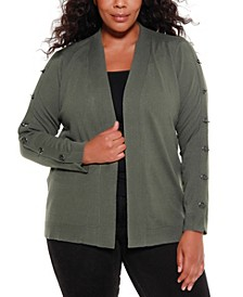 Black Label Women's Plus Size Grommet and Toggle Trim Open Cardigan