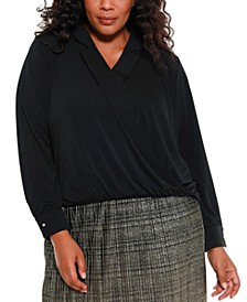 Black Label Women's Plus Size Collared Wrap Top