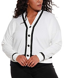 Black Label Women's Plus Size Button Down Cardigan with Chain Detail