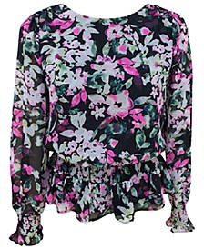 Smocked Floral-Print Blouse, Created for Macy's