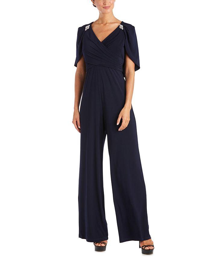 R & M Richards - Embellished Capelet Jumpsuit