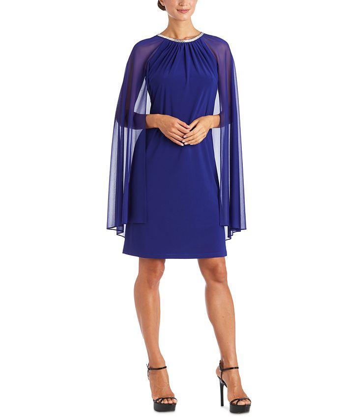 R & M Richards - Embellished Cape-Overlay Sheath Dress