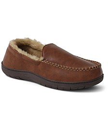 Men's Faux-Shearling Moc-Toe Slippers