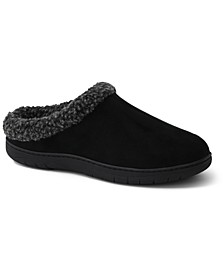 Men's Faux-Suede Fleece-Lined Clog Slippers