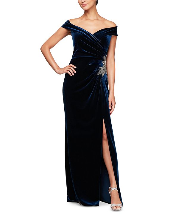Alex Evenings Off-the-Shoulder Velvet Gown