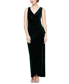 Velvet Tulip-Overlay Gown
