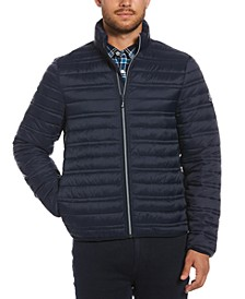 Men's Channel-Quilted Puffer Jacket with Hidden Hood