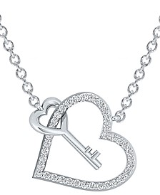"Diamond Heart & Key 17"" Pendant Necklace (1/3 ct. t.w.) in Sterling Silver"