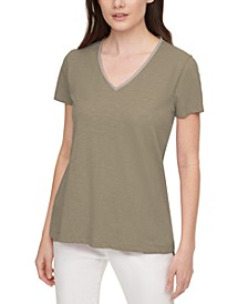 Embellished V-Neck Cotton T-Shirt