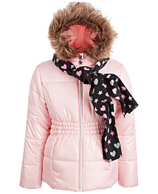 S Rothschild & CO Big Girls Puffer Coat and Scarf