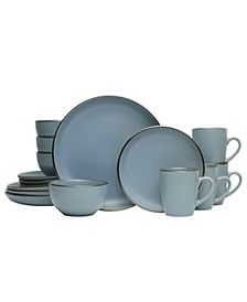 hadlee blue 16 pc dinnerware set, service for 4